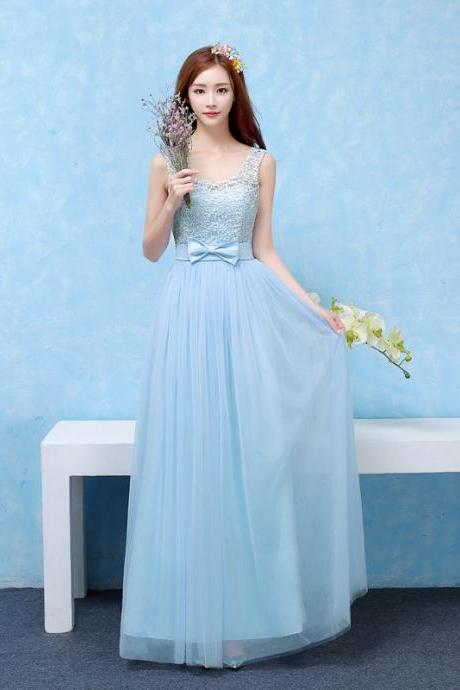 Good Quality Women Long Evening Party Dress Bridesmaid Wedding Dress - Sky Blue