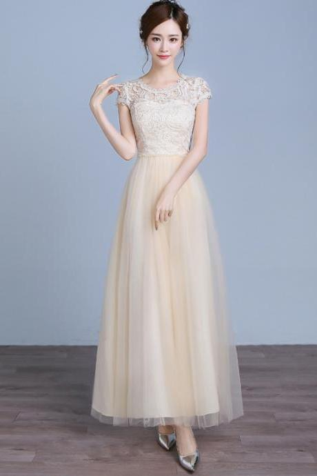 Fashion Beading Women Short Sleeve Evening Party Prom Bridesmaid Wedding Dress