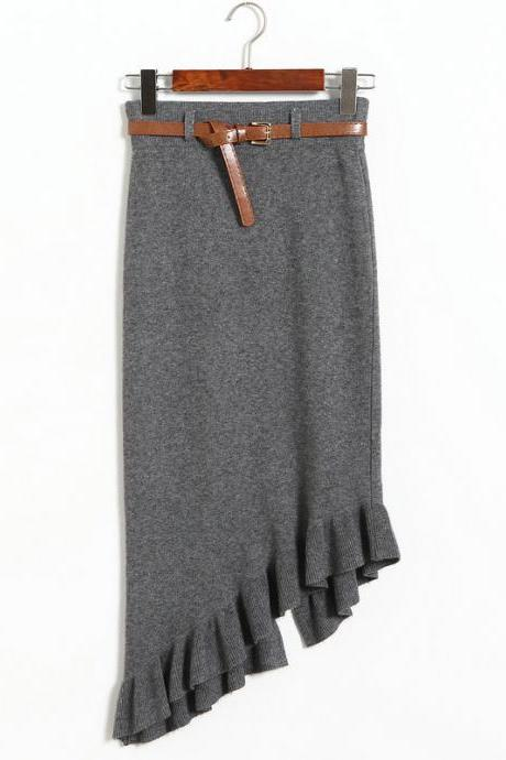 Autumn winter Skirts Womens Knitted Slim Package Hips Skirt With Belt - Grey