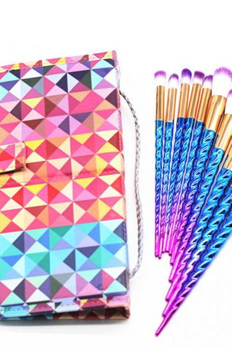 10Pcs/set Colorful Foundation Makeup Brush Cosmetic Eyeshadow Brushes Tool