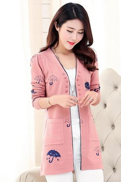 Autumn Umbrella Print women loose cardigan coat loose