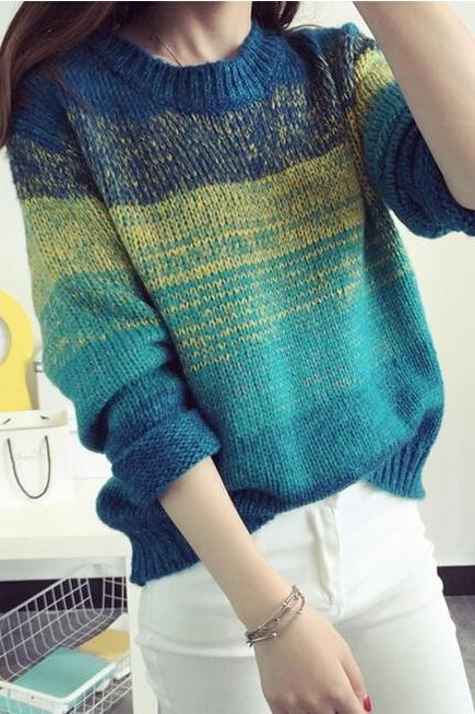 Fashion Winter Gradient color Long Sleeve Loose Sweater