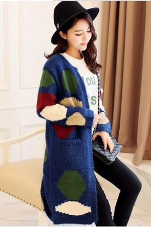 New fashion long cardigan loose knit sweater long coat