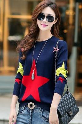Sweet New Star pattern Long Sleeve Sweater