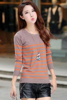 New winter women stripe knit pullover Sweater shirt