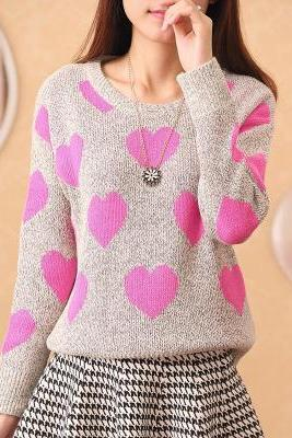 Heart Pattern women knit pullover Sweater shirt