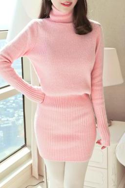 Ladies high collar and long sections Slim stretch dress sweater dress