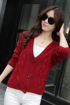 Fshion Autumn loose knit cardigan sweater Coat