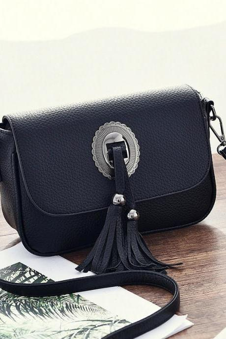 Fashion Sweet Mini Tassels One Shoulder Bag Cross-body Bag - Black