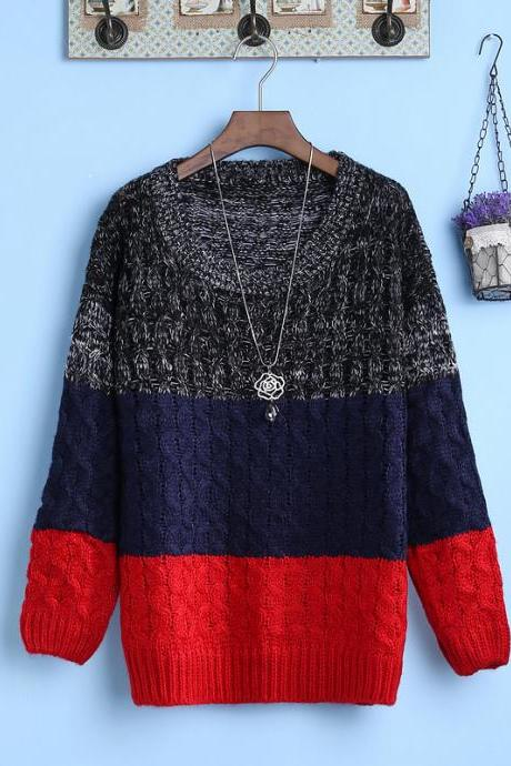 Women o-neck stripe long sleeved sweater Student Sweater