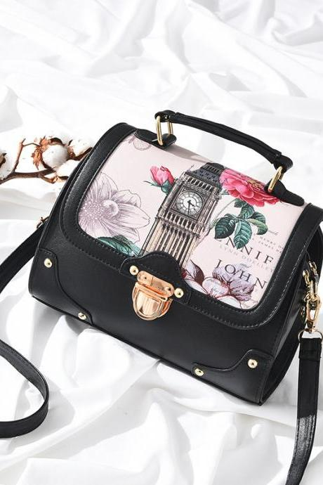 Retro Big Ben Tower Print Shoulder Bag