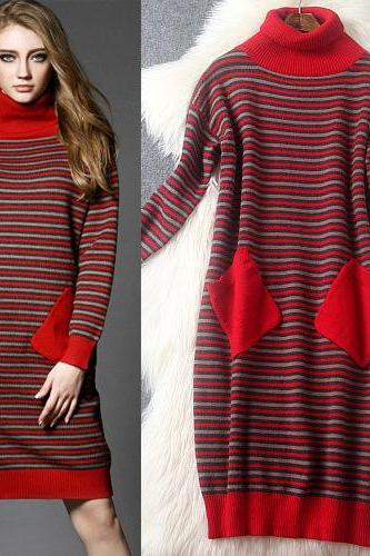 Luxury Designer Pocket Stripe Dress