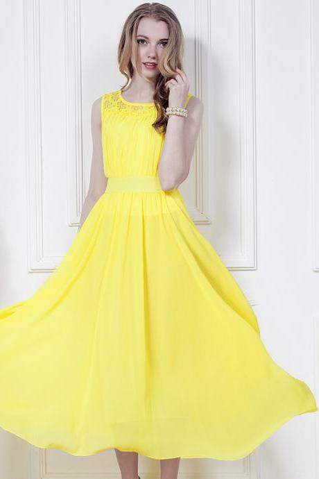 New Summer Yellow Chiffon Dress Bohemia Beach Long Dress