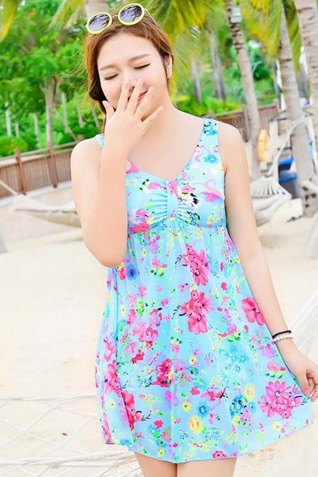 New Big Size Light Blue Women Swimsuit Swimdress