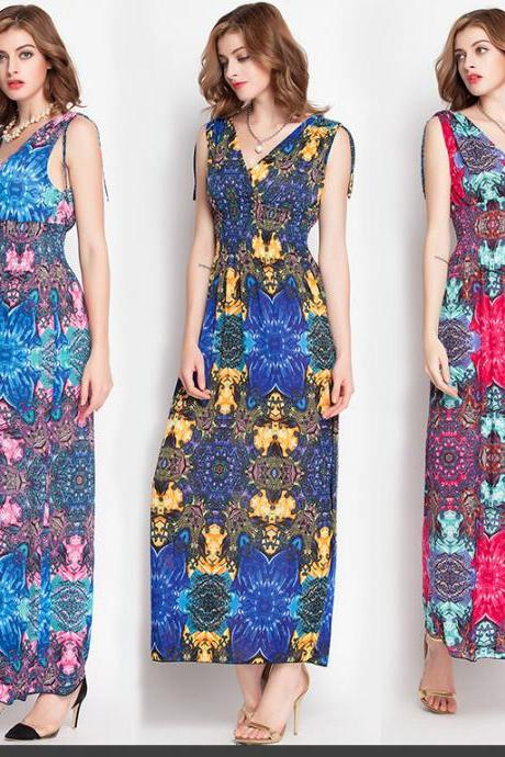 Retro Print Sleeveless Cotton Maxi Long Dress