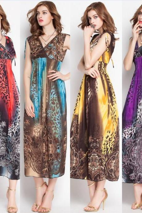 Summer Sexy Sleeveless Casual Print V Neck Beach Party Long Maxi Dress
