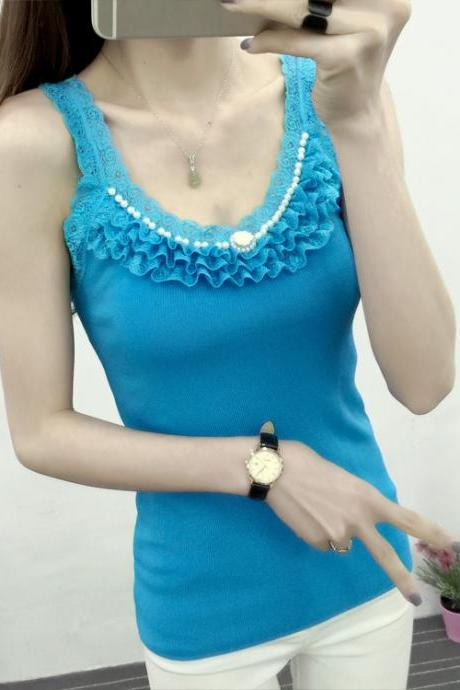 New Women's Lace Tank Top Slim Shirt Vest