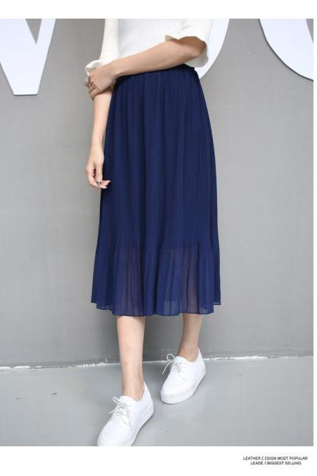 Sheer Pleated Chiffon Midi Skirt