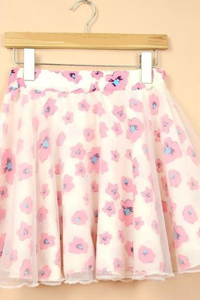 Nice Red Flower Pattern Chiffon Skirt
