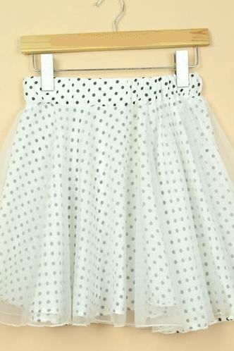 Polka Dot Sheer Layered Skater Skirt