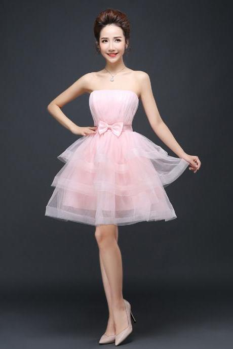 Mini Cake Bridesmaid Prom Dress -Pink