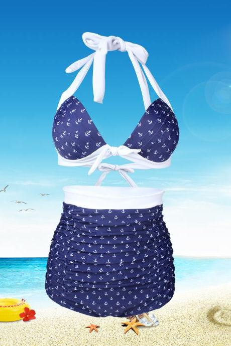 New Women Print High Waist Swimsuit Swimwear Bikini