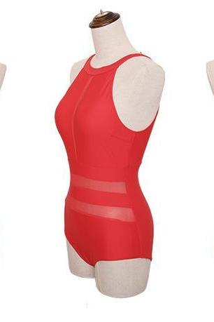 Hot Sale One Pieces Swimwear Push Up Swimsuit Comfortable Bathing Suit - Red