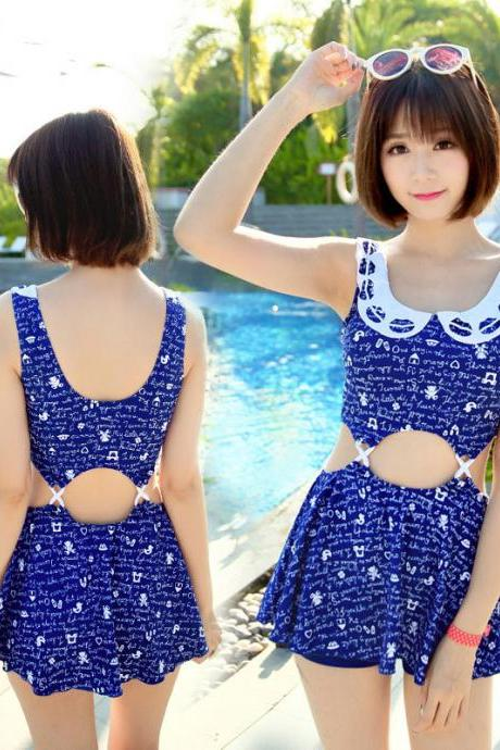 Fashion women ladies girl students sexy swim swimming bathing spa springs beach suit swimsuit swimwear - Blue