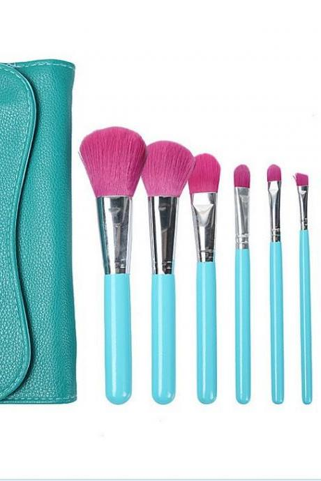 7pcs Makeup Brushes Set Eyebrow Foundation Shadows Make Up Tools Kits - Blue