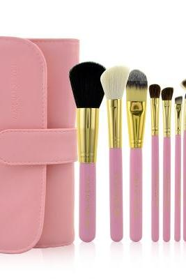 Fashion 10 PCS Professional Makeup Brush Set With Leather Case - Pink