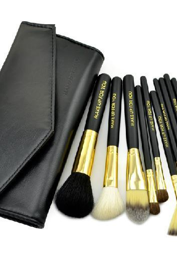 10 PCS Professional Makeup Brush Set With Leather Case - Black