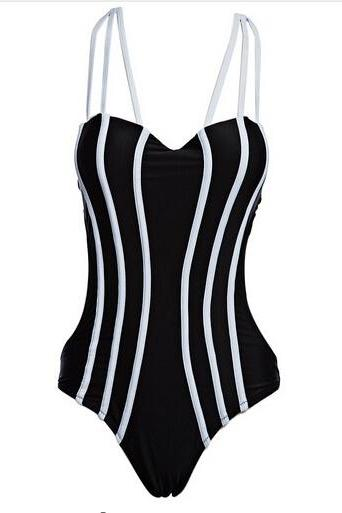 New Women Swimsuit Stylish Stripe Pattern One Piece Slimming Bikini - Black
