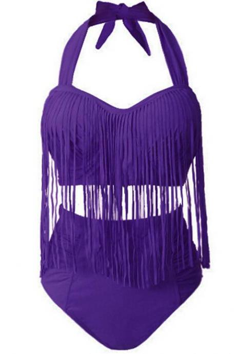 Women Swimwear Sexy Color High Waist Fringe Design Plus Size Women's Bikini Set - Purple