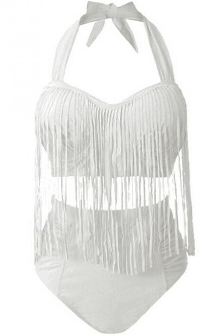Women Swimwear Sexy Color High Waist Fringe Design Plus Size Women's Bikini Set - White
