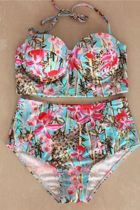 New Women High Waist Bamboo Pattern Swimswear Swimsuit Bikini