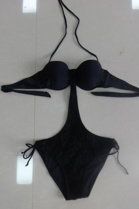 Sexy New One Piece Lace Bikini Swimsuits Bathing Suits - Black