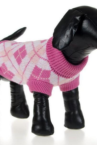 Winter Diamond Pattern Dog Clothes - Pink