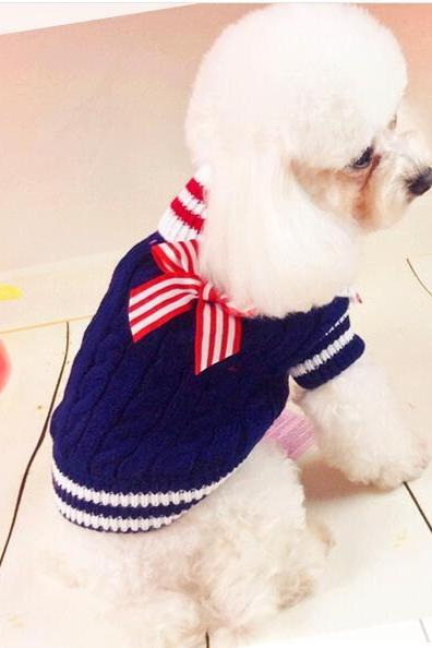 Winter Dog Navy Sweater Dog Clothes