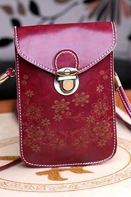 Women Messenger Bags Small Female Shoulder Bags- Wine Red