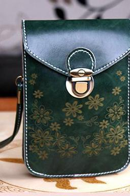 Women Messenger Bags Small Female Shoulder Bags- Dark Green