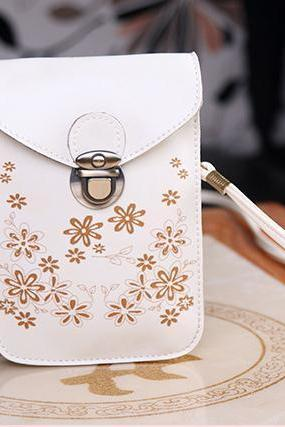 Women Messenger Bags Small Female Shoulder Bags- White