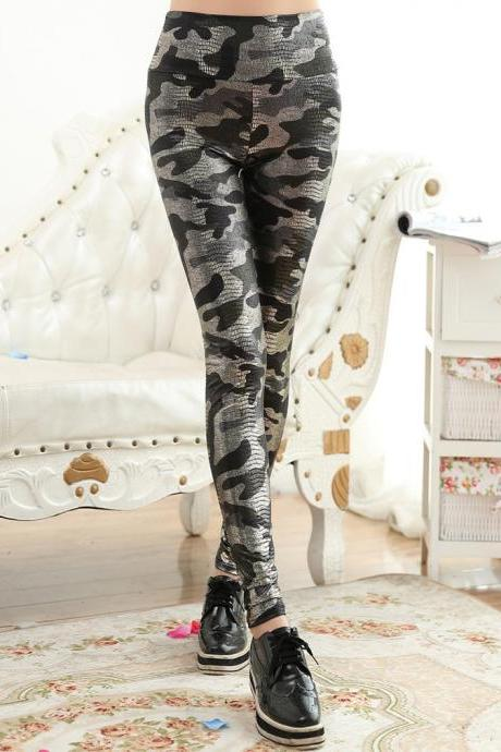 Fashion Autumn Women Printed Leggings Elastic Pants Trousers