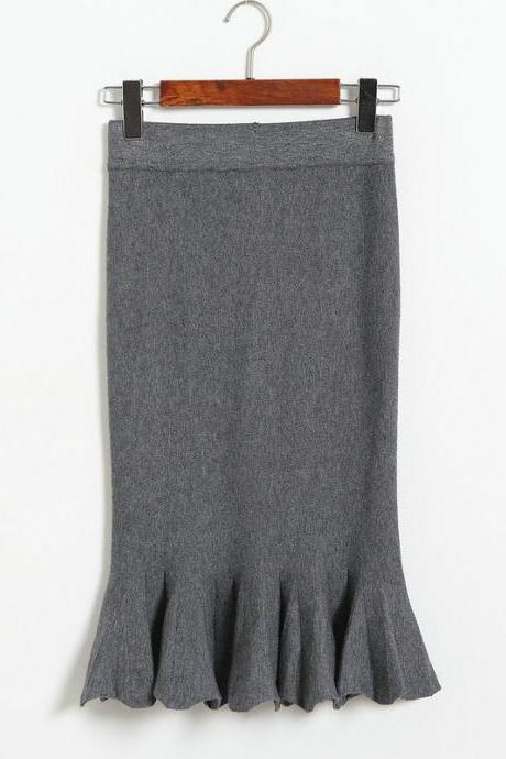 Women Sexy Solid Color Fishtail knitting Slim Skirt - Grey