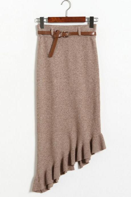 Autumn winter Skirts Womens Knitted Slim Package Hips Skirt With Belt - Khaki