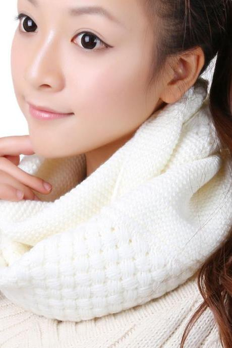 Women Winter knitted Scarves - White
