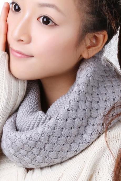 Women Winter knitted Scarves - Grey