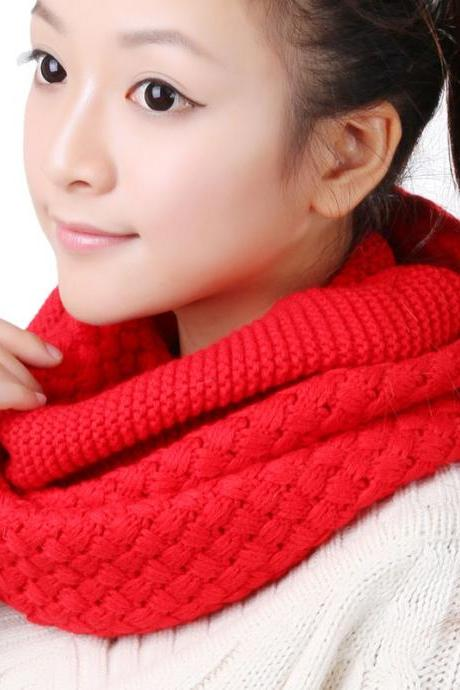 Women Winter knitted Scarves - Red