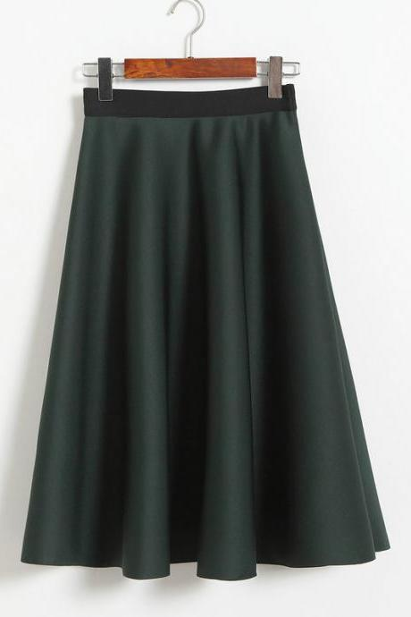 New Women Space Cotton High Waist Casual Skirt - Dark Green