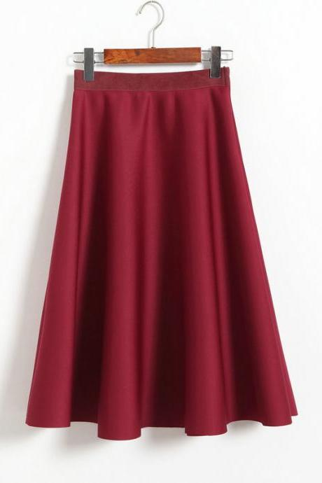 New Women Space Cotton High Waist Casual Skirt - Wine Red