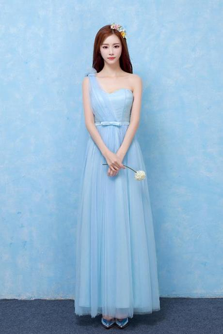 One Shoulder Formal Wedding Bridesmaid Dresses Evening Party Dress - Sky Blue